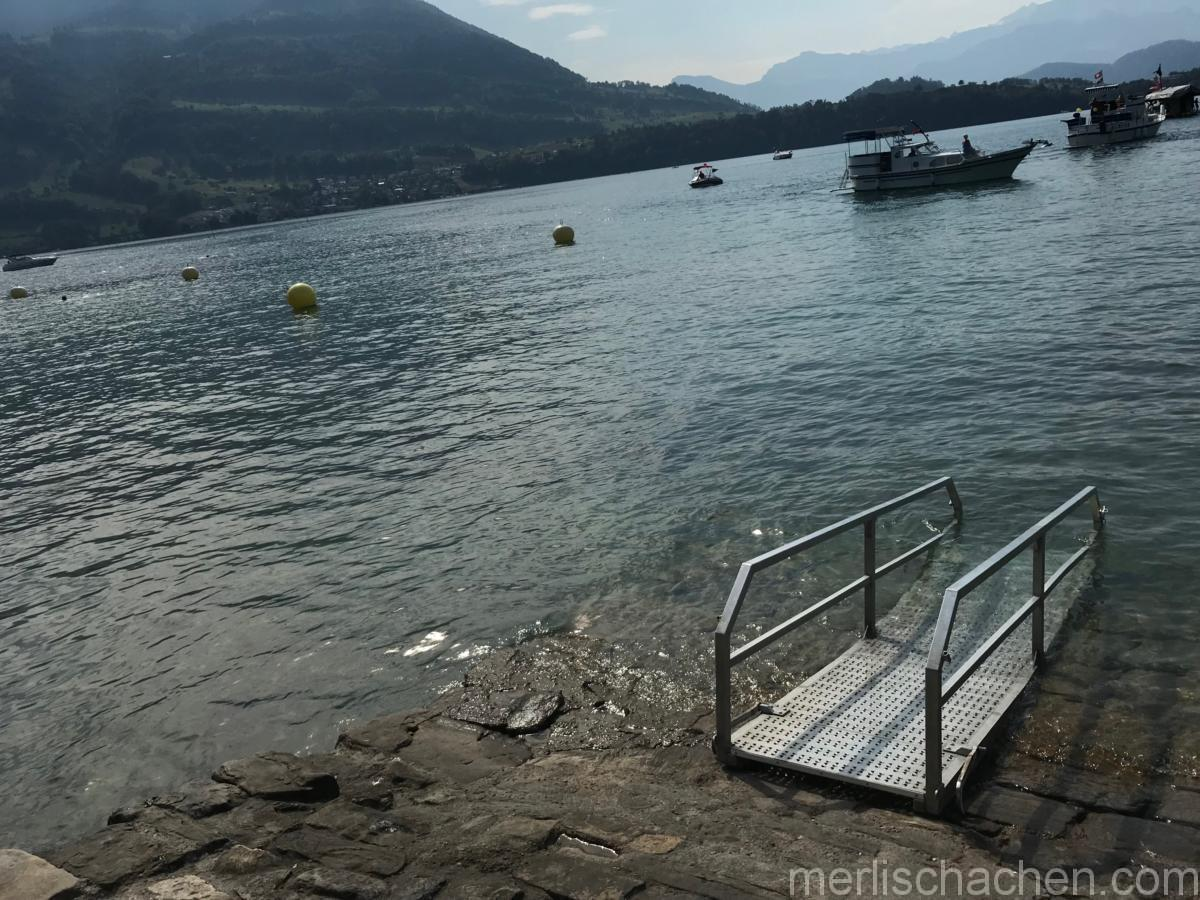 Vor dem Schwimmen